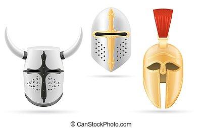 battle helmet medieval stock vector illustration isolated on white background