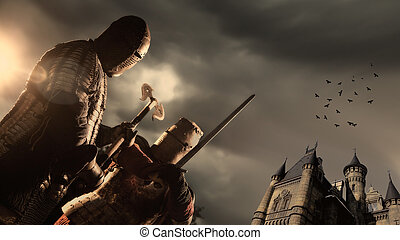 Battle of a Medieval knights. Castle on the background.