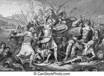 Battle of Agincourt in 1415 on engraving from the 1800s. Major English victory against a numerically superior French army in the Hundred Years War. Engraved by J.Rogers after a painting by J.H.Mortimer and published by J.& F.Tallis.