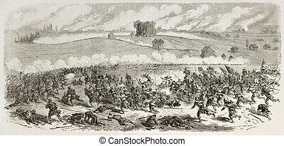 Battle of Fredericksburg old illustration (Confederate Army...