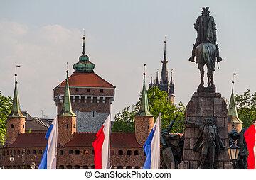 Battle of Grunwald monument In Old Town in Krakow