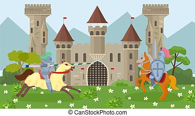 Battle of medieval knights on horseback vector illustration. Knights in armor, with shields and weapons spear and sword. Ancient old knights castle on background.