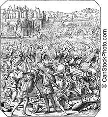 Battle of Nancy, Print the eighteenth century, according to...