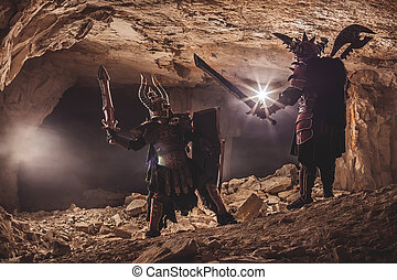 Battle of powerful knights in heavy armor in the Forbidden Caves