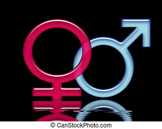 Female and male signs on a black background with water reflections. Illustration