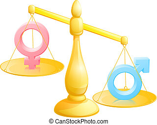 Battle of the sexes concept with male and female symbols being weighed against each other