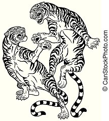 battle of two tigers black white