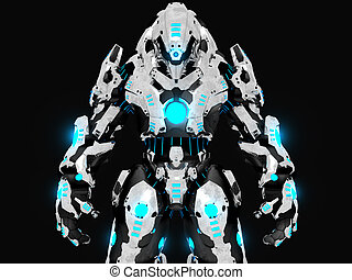 Battle robot - 3d illustration of a advanced battle robot...