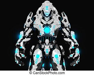 3d illustration of a advanced battle robot cyborg soldier