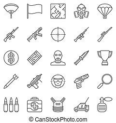 Battle Royale Video Game outline vector concept icons set