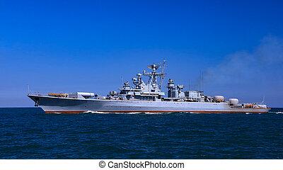 Battle ship in the ocean