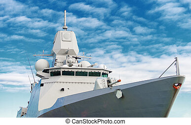 Battle ship with radar and gun.