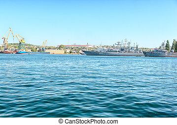 Battle ships in harbour