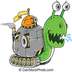 Battle Snail Tank Vector Art Illustration