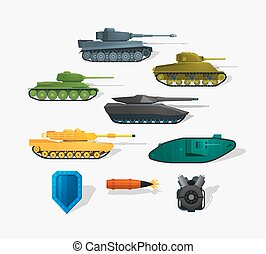 Battle tanks detailed icons in flat style and long shadow. Infographics elements. Detailed flat style.