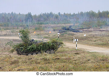 Battle tanks in action