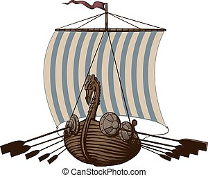 Battle Viking Ship - Battle ancient Viking ship under sail...