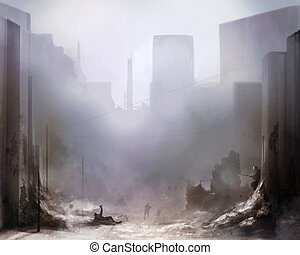 Battlefield art background - Illustration of a world war 2...