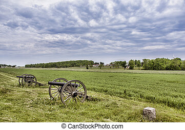 Battlefield Gettysburg - Civil War era cannons in the...