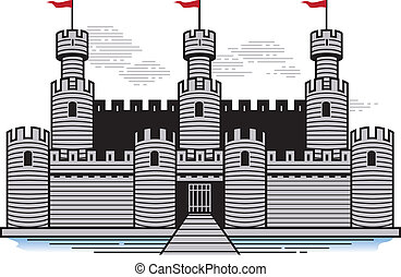 A stylized castle with drawbridge and moat