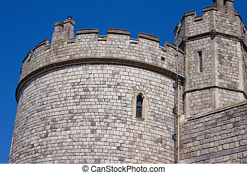 Close up view of a castle tower and battlements