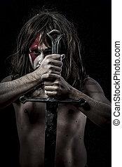 battle.savage, strijder, met, ijzer, zwaard