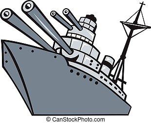 battleship-big-guns-ISO - Cartoon style illustration of a...