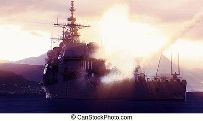 Battleship firing off a long range missile. - 3D animation...
