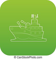 Battleship icon green vector isolated on white background