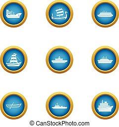 Battleship icons set, flat style - Battleship icons set....
