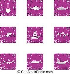 Battleship icons set, grunge style - Battleship icons set....