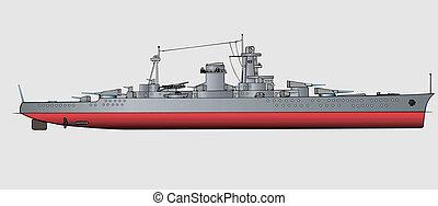 Battleship - Military navy ships .Vector art illustration of...