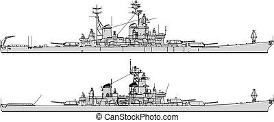 battleship., na, war., sylwetka, wektor, zbiór, przeziębienie, statki wojenne