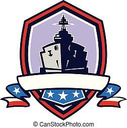 Battleship Stars Stripes Crest Retro - Retro style...