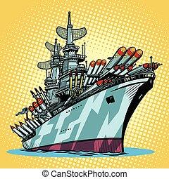 battleship warship, missile cruiser. Comic cartoon pop art...