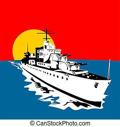 Battleship with big guns - Illustration on naval warfare