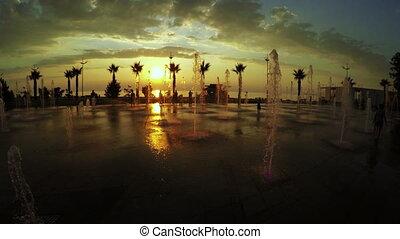 batumi, aleja, zachód słońca, seafront, fontanny