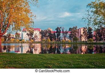 batumi, city., lago, parque, geórgia