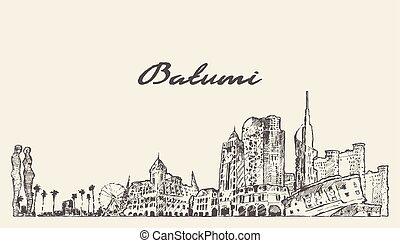 Batumi skyline Georgia hand drawn vector sketch