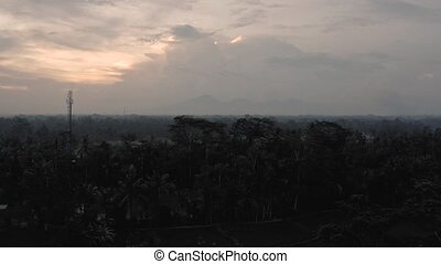 Volcano, mountains and Rice fields on Indonesian Bali Island