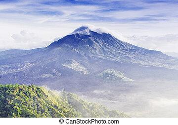 Batur volcano on the sunrise