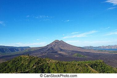 Batur volcano sunny landscape, Kintamani, Bali, Indonesia.