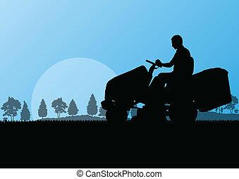 batyst, abstrakcyjny, ilustracja, kosiarka, pole, cięcie, wektor, traktor, tło, trawa, krajobraz, człowiek