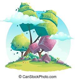 batyst, abstrakcyjny, ilustracja, wektor, drzewa, tło