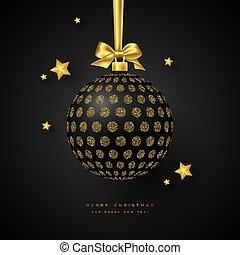 bauble., 現実的, 黒, クリスマス