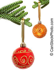 Bauble and Branch - Red Christmas bauble hanging from pine...