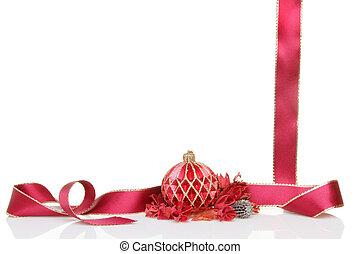 bauble de navidad, cinta, y, popurrí