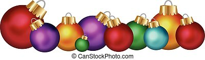 BAUBLE DISPLAY - Colored christmas glass balls isolated on...