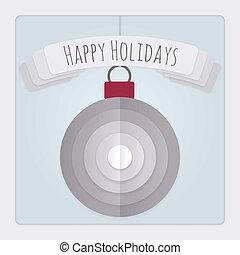 bauble, kaart, feestdagen