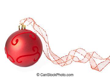 bauble, kerstmis, lint, rood